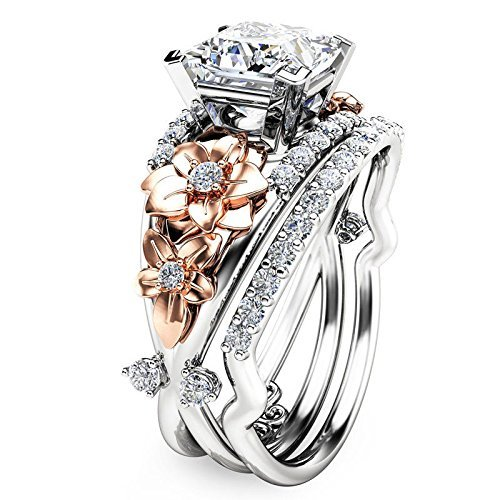 by lucky Gorgeous Women's 925 Silver White Sapphire Ring Set Gold Flower Wedding Jewelry ()