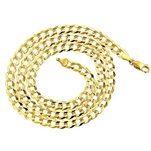 Luxurman 14k Yellow Gold Italy Cuban Curb Solid Chain Necklace 2.6mm Wide 10'' Long with Lobster Clasp by Luxurman (Image #1)