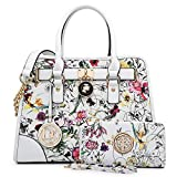 Dasein Women's Designer Padlock Striped Belted Top Handle Satchel Handbag Purse Shoulder Bag With Wallet (White Floral Style)