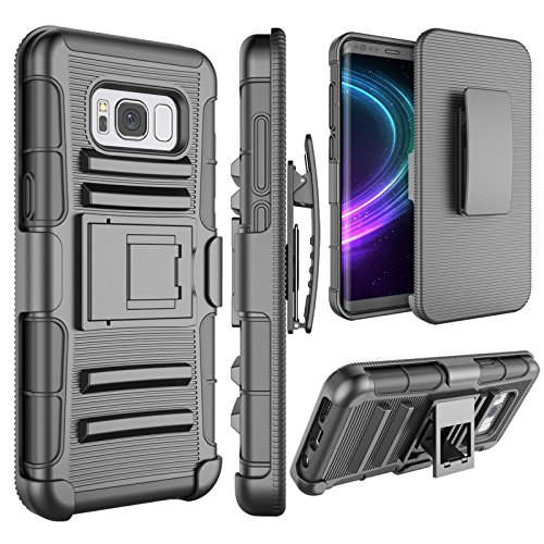 Galaxy S8 Case, S8 Holsters Clips Case, Jeylly [Belt Clip] Full Body [Black] Rugged Shockproof Heavy Duty Kickstand Carrying Armor Combo Cases Cover for Samsung Galaxy S8 SVIII (5.8 inch) G950U