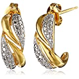 18k Yellow Gold Plated Sterling Silver Two-Tone Twisted J-Hoop Earrings