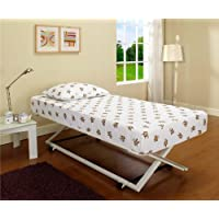 White Metal 39/ Twin Size Pop Up Trundle For Daybeds