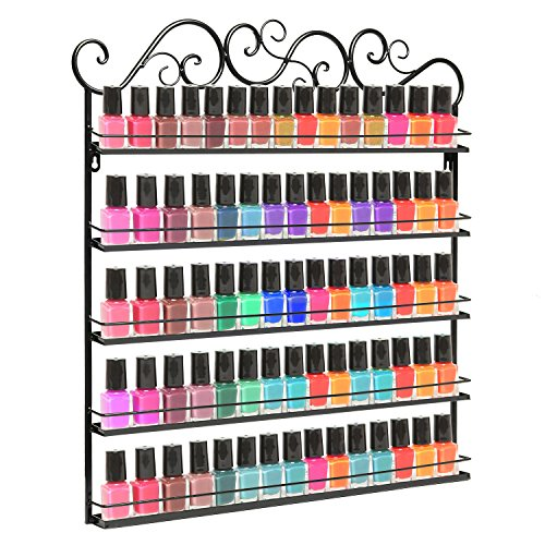 Professional Black Metal Nail Polish Mountable 5 Tier Organizer Display Rack - MyGift