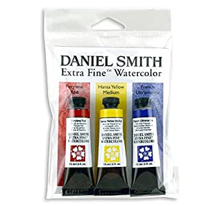 DANIEL SMITH Extra Fine Primary Watercolor Set, 3 Tubes, 15ml, 285250066, Multicolor, 15 ml