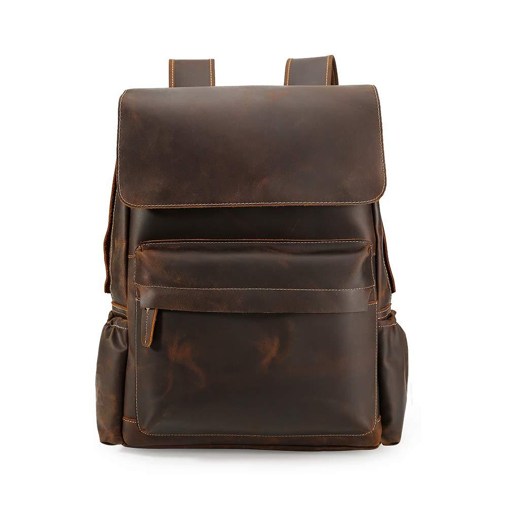 Trend Men Vintage Leather Laptop Backpack Shoulder Messenger Bag Sling Rucksack