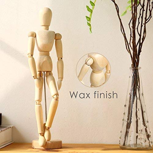 Wooden Drawing Mannequin Wood Artist Figure Doll Model Manikin with Flexible Posable Joints for Sketch Charcoal Home Office Desk Decoration Children Toys Gift 12''Male
