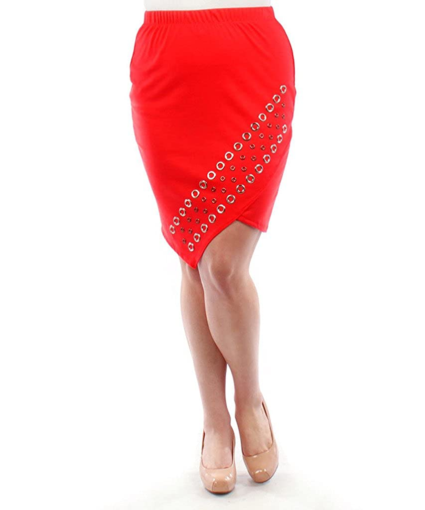 Stylzoo Plus Size Studded Pencil Skirt