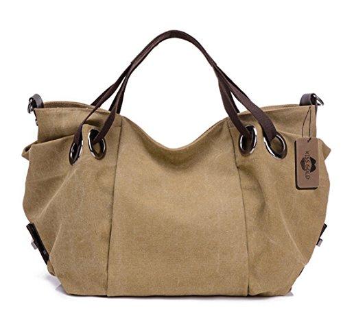 KISS GOLD(TM) Women's Canvas Hobo Top-handle Bag Crossbody Shoulder Bag, European Style, Large Size 16