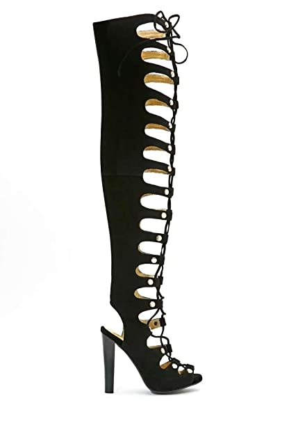15a346aa0 Jefffrey Campbell Enable-HI Womens Suede Gladiator Boots (7, Black)