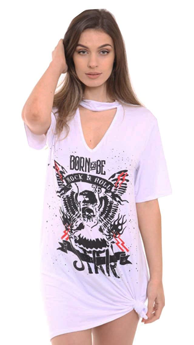 484db8eec4de Women's Ladies Choker Neck T shirt Dress Biker Born to be Rock Star Rock N  Roll Slogan Printed Tops: Amazon.co.uk: Clothing
