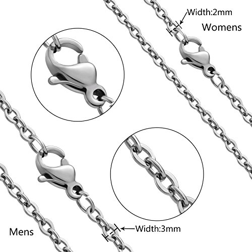 Aienid Stainless Steel Couple Necklace for Men and Women Eternal Love Pendant Neckalce with Chain by Aienid (Image #5)