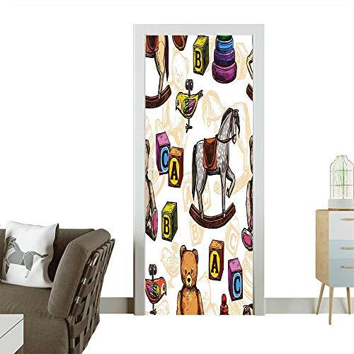 Door Art StickerRetro Style Toys Rocking Horse Teddy Bear and Bird Illustration Print Brown and Room decorationW30 x H80 ()