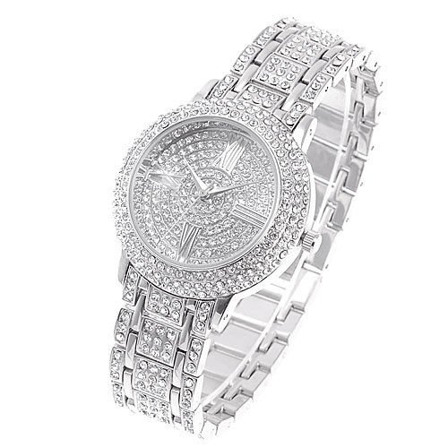 Ladies Watch (Factory Warranty) New Fashion Silver Crystal Women Ladies Bling Stainless Steel Quartz Wrist Watch