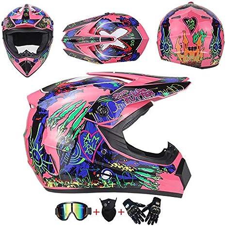 Akboy Motocross Helm Kinder Pink Blau Full Face Motorradhelm Off Road Motorrad Cross Helme Für Mädchen Jungen Motorbike Atv Mtb Sport Motorcycle Helmet Set Mit Visier Brille Maske Handschuhe Sport Freizeit