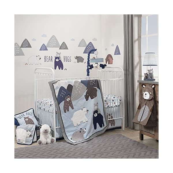 Lambs & Ivy Signature Montana 6-Piece Baby Crib Bedding Set – Blue,Grey,Brown Bears and Mountains
