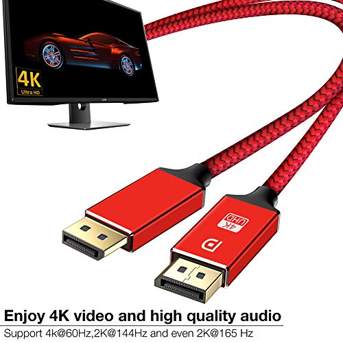 DisplayPort Cable,Capshi 4K DP Cable Nylon Braided -(4K@60Hz, 1440p@144Hz) Display Port Cable Ultra High Speed DisplayPort to DisplayPort Cable 6.6ft for Laptop PC TV etc- Gaming Monitor Cable(Red)