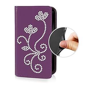 eSPee GA7R055 tipo con Tapa con diseño de flores de silicona y cierre magnético para Samsung Galaxy A7 SM-A700F violeta