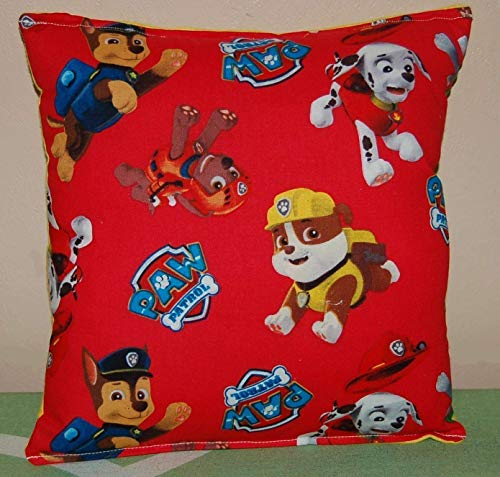 "Marshall Bedding - Paw Patrol Pillow Red Paw Patrol Pillow Chase, Marshall, Zuma, Rubble, Rocky Handmade in USA is approximately 10"" X 11"