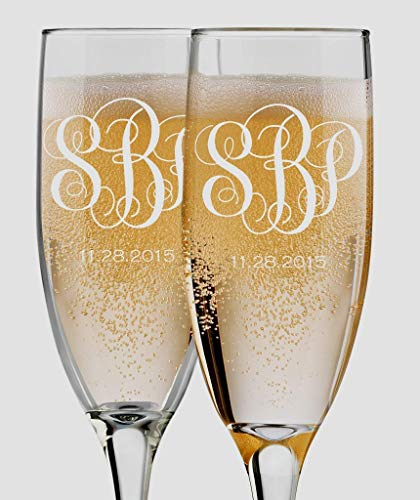Bride and Groom Champagne Flutes - Set of 2 Personalized - 6 oz Custom Engraved Glasses - Monogram Mr and Mrs Toasting Couple Wedding Gift ()