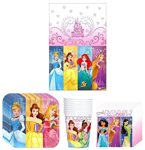 Disney Party Supplies (Disney Princess Dream Big Birthday Party Supplies Bundle Kit Including Plates, Cups, Napkins and Table cover - 8 Guests)