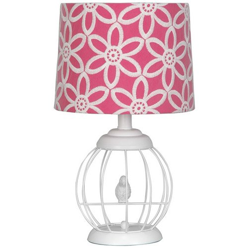 Your Zone Bird Cage Lamp with Floral Pink and White - Nwa Mall