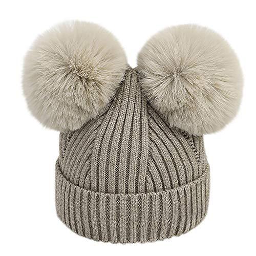 Unisex Baby Beanie Cap, Vinjeely Girls Boys Winter Cute Pompom Hemming Knitted Hat Woolen Headgear (Brown) ()