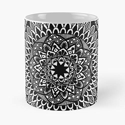 (Black And White Boho Lines Festival Gift Ceramic Novelty Cup 11 Oz )
