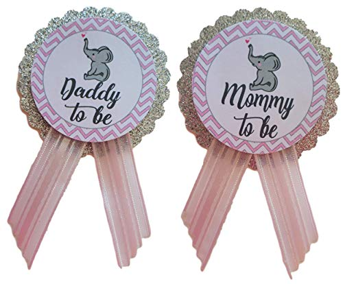 (Mommy to Be & Daddy to Be Pin Elephant Star Baby Shower Pin for parents to wear, Pink & Gray, It's a Girl Baby)