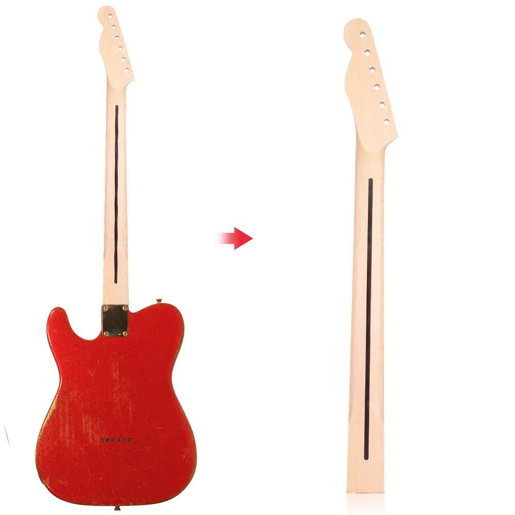Dilwe Cuello de Guitarra Eléctrica, 22 Trastes Puntos de Marca Negra Mástil de Arce de Guitarra Eléctrica Estilo TL Piezas de Accesorios(con Línea ...