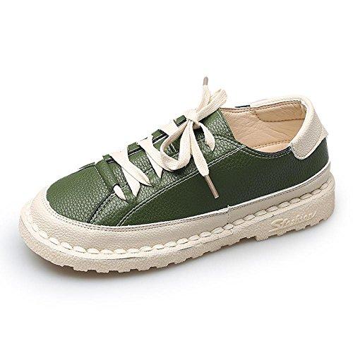 la Mary retro los pie planos redondo NSX cordones casual GREEN fondo plano Jane de de de mujer del cuero 35 con beige de 35 dedo zapatos dRxII8qY
