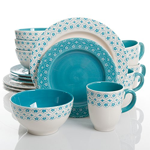 Gibson Home 102355.16RM General Store Cottage Chic 16 Piece Handpainted Durastone Dinnerware Set, ()