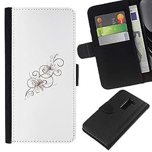 iBinBang / Flip Funda de Cuero Case Cover - Floral Lines Pattern Spring Clean - LG G2 D800 D802 D802TA D803 VS980 LS980
