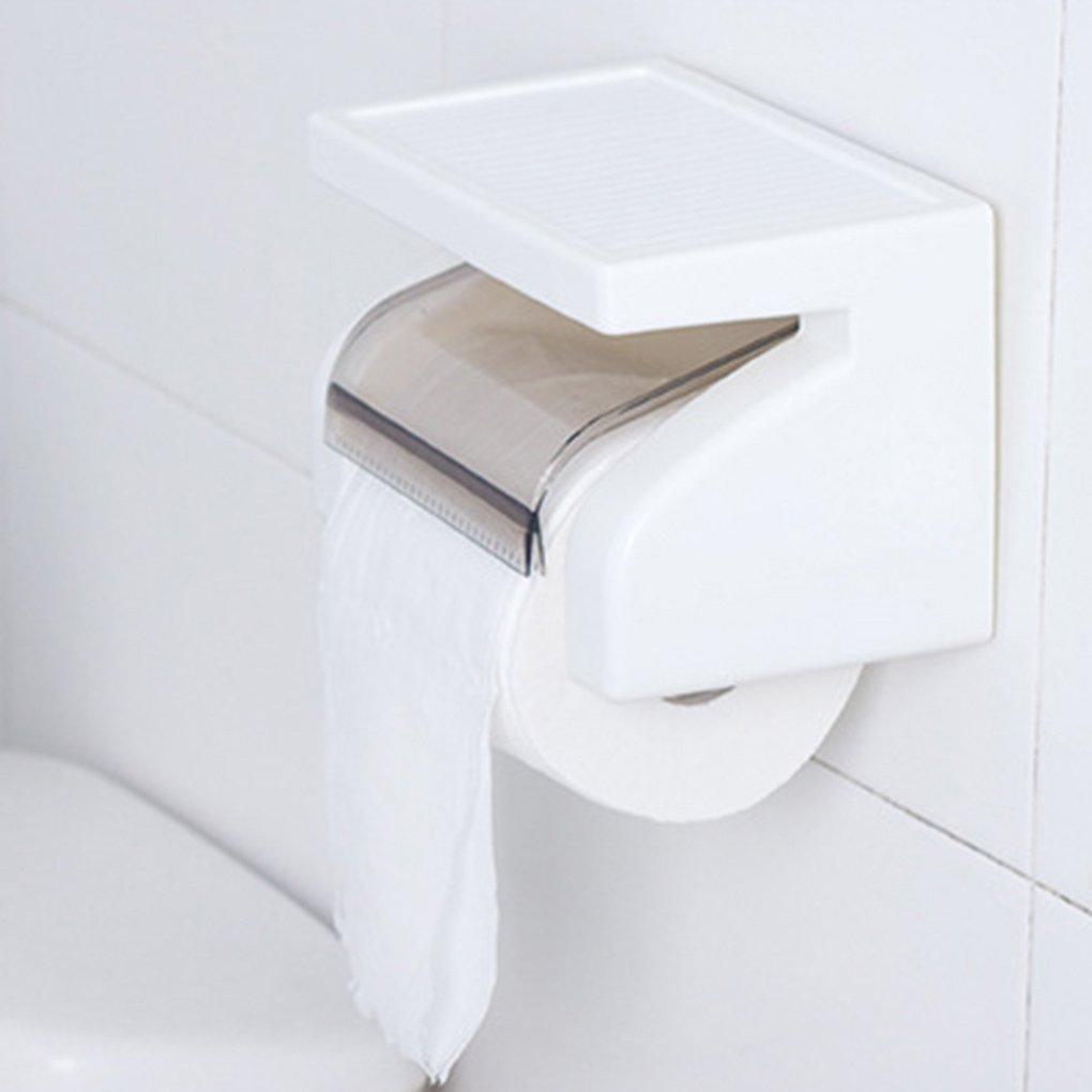 Elenxs Duradero ba/ño de Agua Accesorios de pl/ástico Soporte del Papel higi/énico Tejido Cuadro Titular del Rollo de Papel Soporte