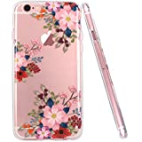 iPhone 6 Case, iPhone 6S case, JAHOLAN Girls Floral Pattern Clear TPU Soft Slim Flexible Silicone Glossy Phone case for Apple iPhone 6 6S - Pink Flower Fruit