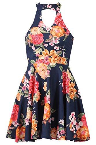 Damen Blumenpint Kleid Choker V-schnitt Skater Marine Größe 36-44 Eur
