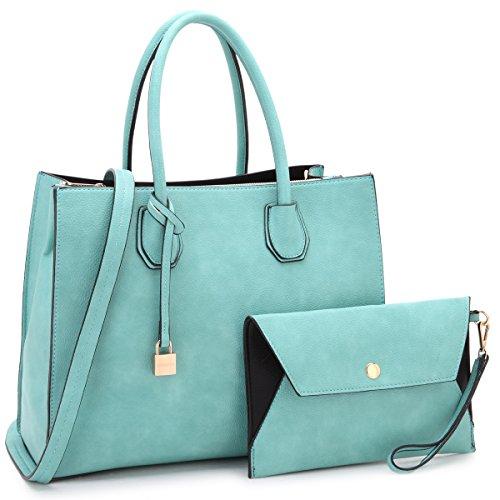 Dasein Women Designer Padlock Tassel Satchel Handbags Pebble