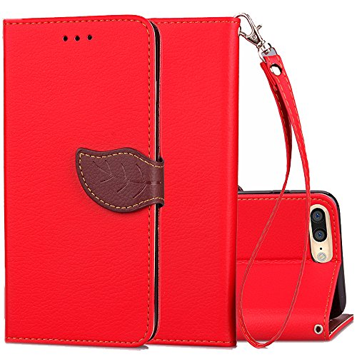 iPhone 7 Plus Wallet Case,iphone 7+ Case for Girls,Kudex Kickstand Slim Folio Flip Leather Card Holder&Cash Pocket Purse Protective Shell w/ Magnetic Buckle&Detachable Strap for Women/Men (Red)