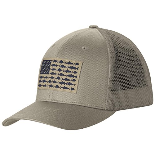 Columbia PFG Mesh Ball Cap, Tusk Fish Flag, Large/X-Large