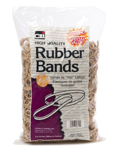 Charles Leonard Rubber Bands, 16 (2-1/2 x 1/16 Inches), Amber, 1 Pound Bag (56616) ()