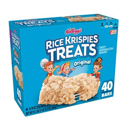 Kellogg's Rice Krispies Treats, Crispy Marshmallow Squares 0.78 oz Bars 40 Ct - 2 Pack