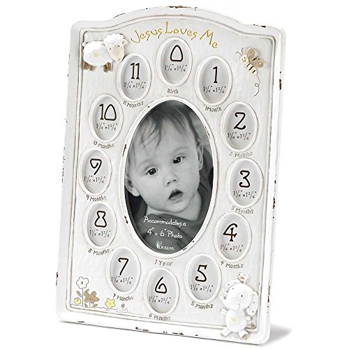Dicksons Jesus Loves Me First Year Photo Frame, White Baby Lamb Photo Frame