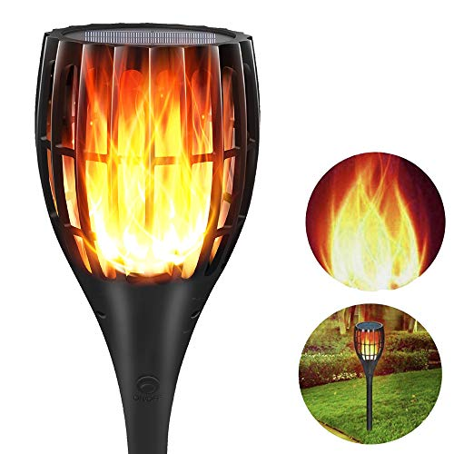 YUJENY Solar Flame Torch Lights Upgraded, Waterproof Dance Flame Lighting Solar Garden Light Outdoor Landscape Decoration Lighting Dusk to Dawn Auto On/Off (1 Pack)