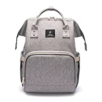 Diaper Bag Backpack - Multi-Function Waterproof Nappy Changing Bag Travel Backpack for Baby Care with Stroller Straps - Large Capacity, Durable and Stylish (Grey)