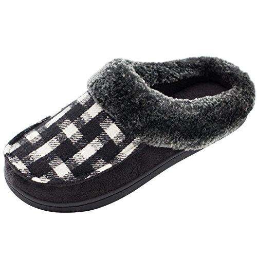 HomeTop Women's Indoor/Otudoor Wool Plush Fleece Lined Slip On Memory Foam Clog House Slippers (US Women's 9-10, Black)