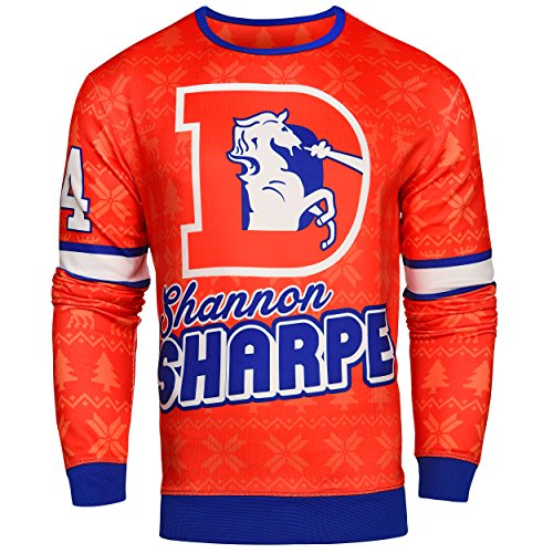 Forever Collectibles NFL Mens Retired Player Ugly Sweater, Shannon Sharpe Denver Broncos