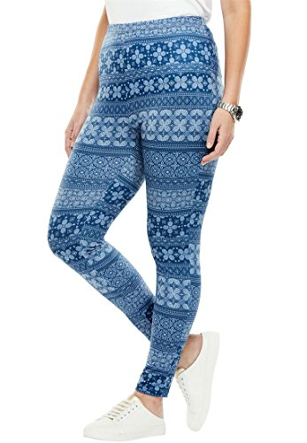Woman Within Women's Plus Size Cozy Legging Royal Navy (Poly Spandex)