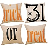 Decemter Trick or Treat Halloween Cotton Linen Decorative Pillowcases for Couch Patio Set of 4,18×18