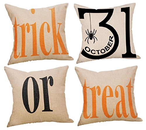 Decemter Trick or Treat Halloween Cotton Linen Decorative Pillowcases for Couch Patio Set of 4,18×18 -