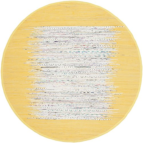 Safavieh Montauk Collection MTK711Q Handmade Flatweave Ivory and Yellow Cotton Round Area Rug (4' Diameter)