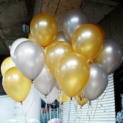 AnnoDeel 50 PCS 12inch Balloons, Gold balloons and Silver balloons for Birthday Wedding Decorations Party